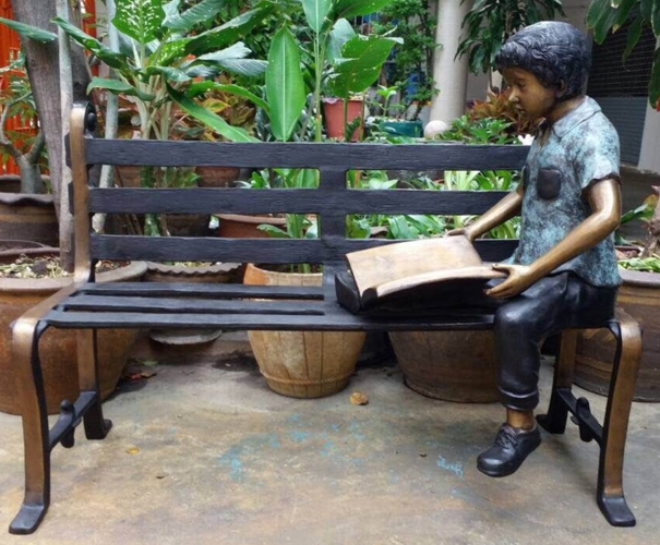 Bronze Boy Reading Bench Statue - DD G-065B