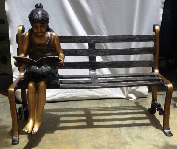 Bronze Child on Bench Reading - DD G-065C