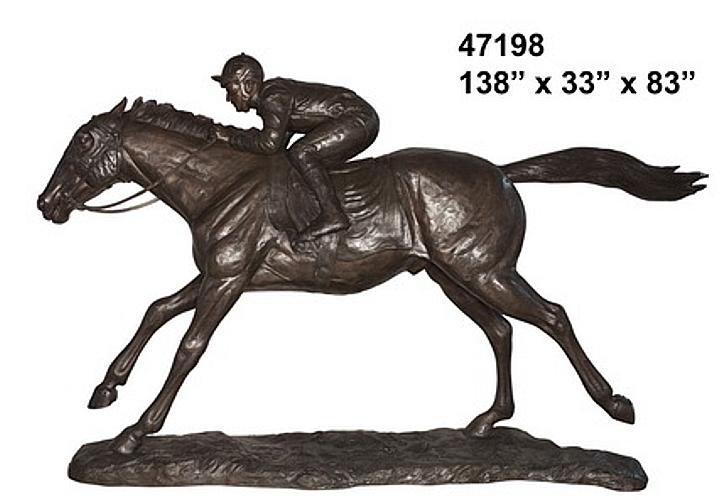 Bronze Jockey on Racehorse Statue - AF 47198