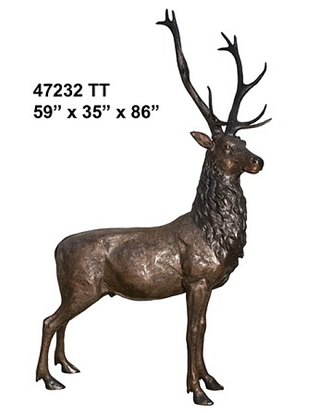Authentic Detailed  Buck Deer Bronze Statue - AF 47232TT