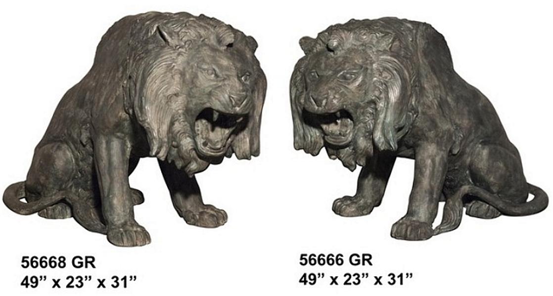 Bronze Lion Statues - AF 56666GR