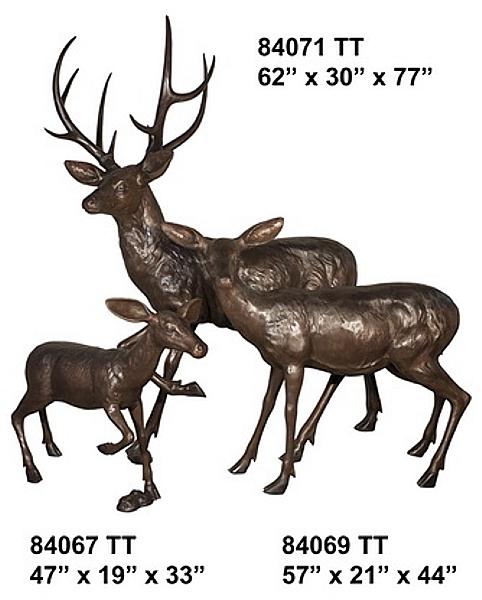 Bronze Deer Family Statues - AF 84067-71TT