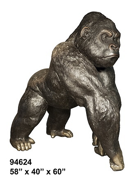 Bronze Silverback Gorilla Statue - AF 94624