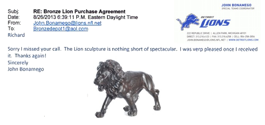 """The Lion statue is nothing short of spectacular"" - ASI JS-026 R"