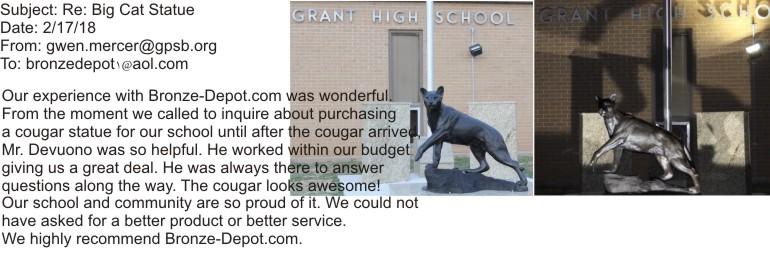 Bronze Cougar Statue Grant High School Recommendation - AF 56776-R