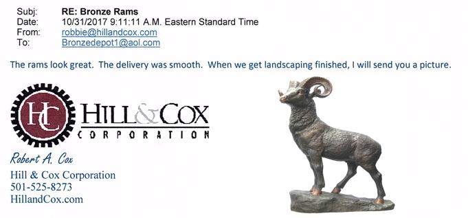 ***Bronze Ram Statues*** Hill & Cox Corp. Referral - DD A-204-R