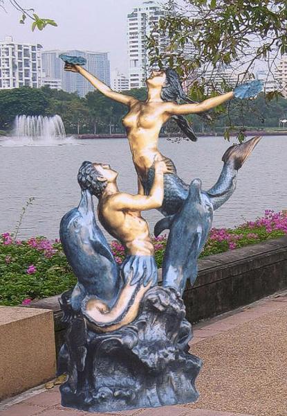 Bronze Merman & Mermaid Statue - BB 300/23-S