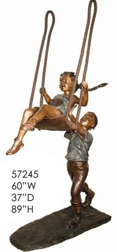Bronze Boy & Girl Swing Statue - AF 57245