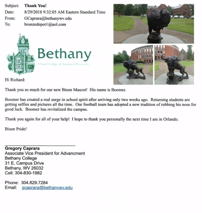 Bronze Bison Mascot Bethany College Reference - AF 55872RR
