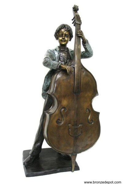 Bronze Boy Playing Bass Statue - AF 74060