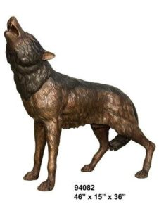 Bronze Howling Wolf Statue