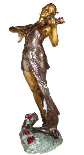 Bronze Lady Violinist Statue - KT AP-794