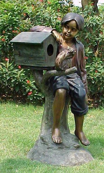 Bronze Boy & Pet Mailbox