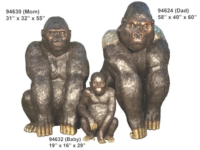 Bronze Gorilla Family Statue - AF 94624-30-32