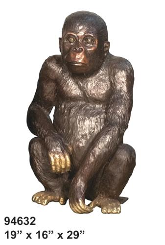 Bronze Baby Gorilla Statue - AF 94632