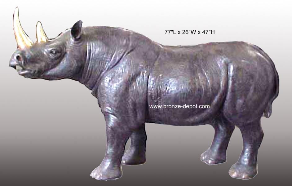 Bronze Rhinoceros Statue - PA A-1150