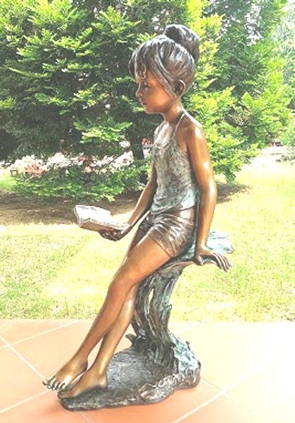 Bronze Girl Reading Statue - KT P-921
