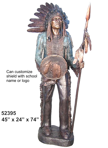 Indian Warrior Chief Bronze Mascot Statue - AF 52395 BL