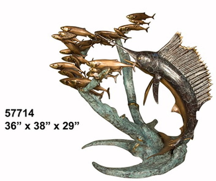 Bronze Sailfish Chasing Fish Fountain - AF 57714-F