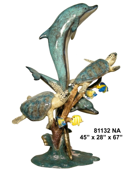 Bronze Dolphin Turtle Fountain - AF 81132NA-F