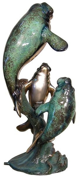 Bronze Manatee Family Statues - AF 89049NA-S