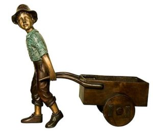 Bronze Boy Pulling Wagon