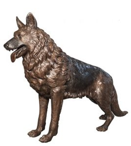 Bronze German Shepherd Dog Statues