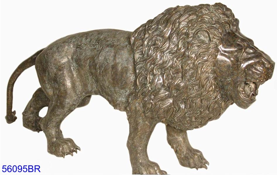 Bronze Savanna Lion Statue (L & R) - AF 56095