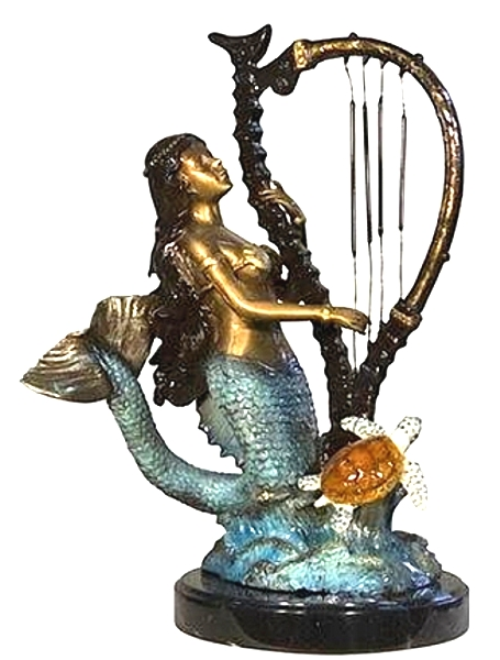Bronze Mermaid Playing Harp Statue - AF 58590NA