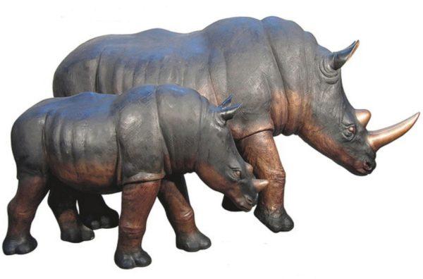 Bronze Rhinoceros Statues