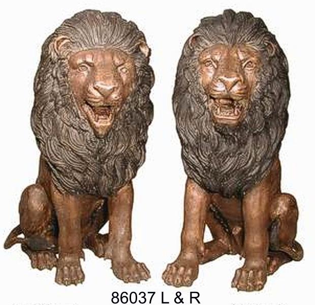 Snarling Bronze Lions - AF 86037 L & R