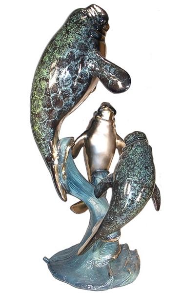 Bronze Manatee Family Statues - AF 89049MET-S