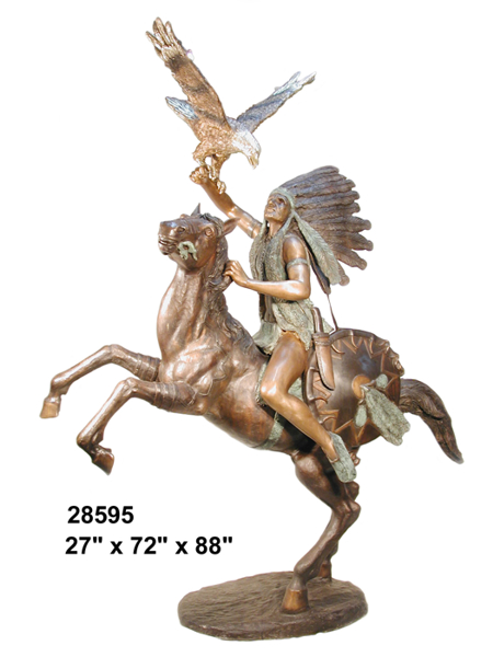 Indian & Eagle Rearing Horse Bronze Statue