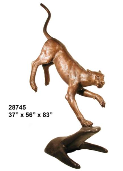 Bronze Cougar Statues - AF 28745