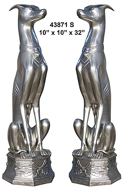 Bronze Whippet Statues - AF 43871S