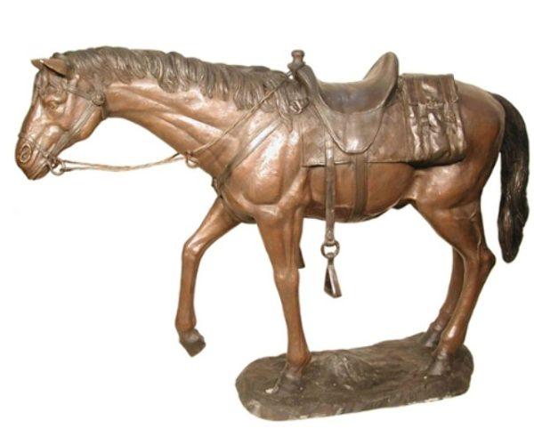 Bronze Western Saddled Horse Statue
