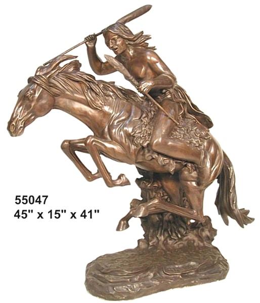 Bronze Indian on Horse Statue - AF 55047