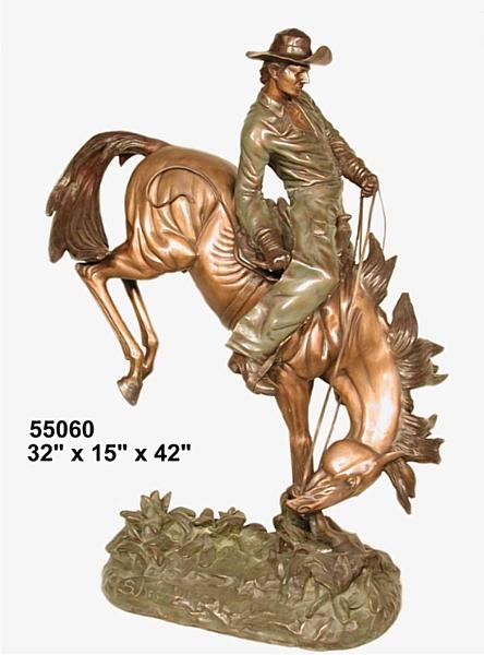 Bronze Cowboy Bucking Bronco Statues - AF 55060