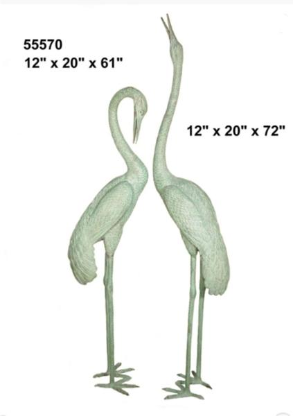 Bronze Crane Statues - AF 55570 GR S
