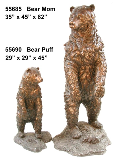 Bronze Grizzly Bear & Cub Statues