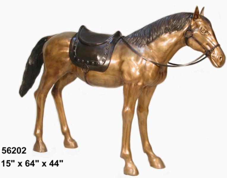 Western Saddle Bronze Standing Horse Statue - AF 56202