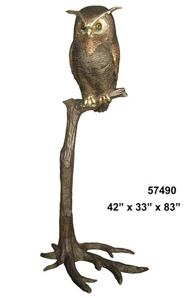 Bronze Owl Statues - AF 57490