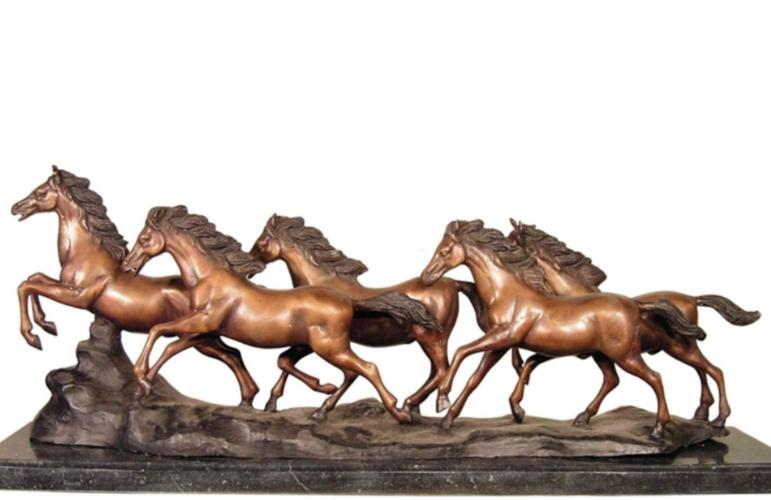 Bronze Stampeding Wild Horses Statue - AF 57496M