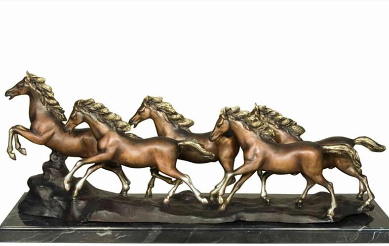 Stampeding Wild Horses Bronze Statue - AF 57496M TS