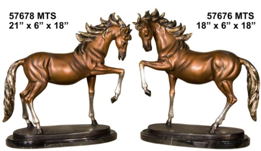 Prancing Bronze Horse Statues - AF 57678 MTS