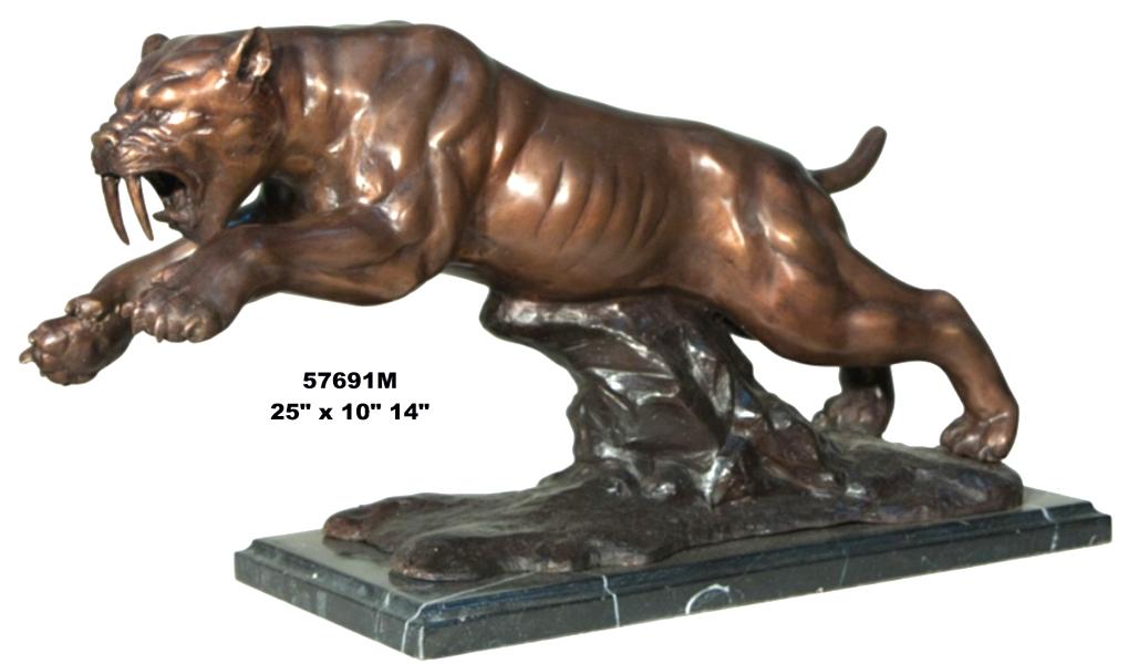 Bronze Saber Tiger Statues - AF 57691M