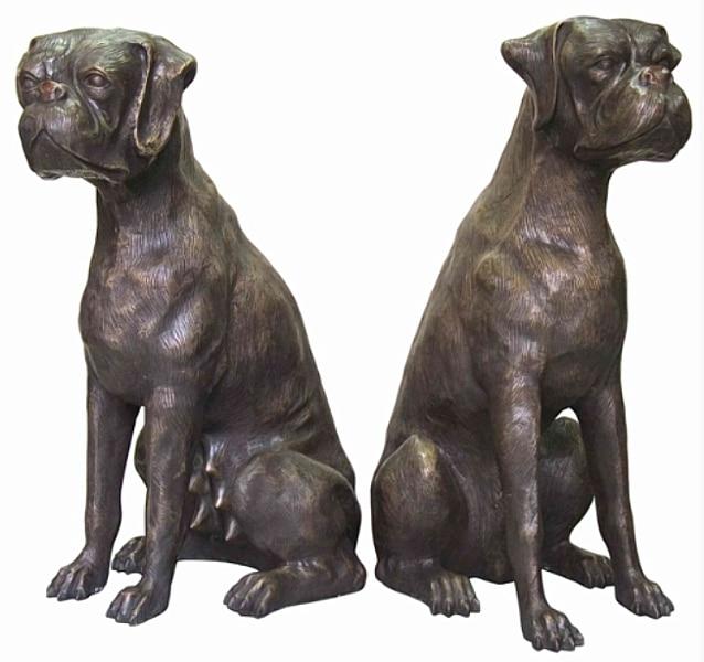 Bronze Boxer Dog Statue - AF 59555