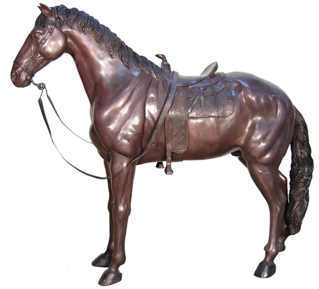 Western Saddled Bronze Horse Statue - AF 74314