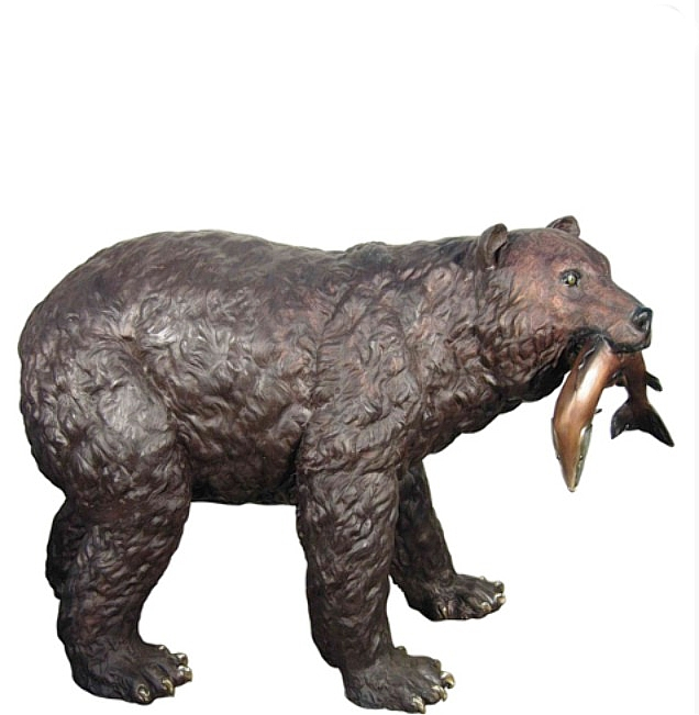 Bronze Bear Eating Fish Statue - AF 81161