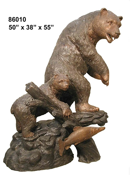 Mom & Cub Bronze Bear Statue